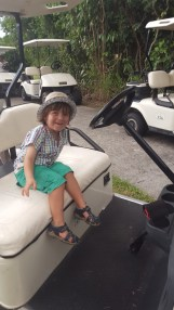 Kids fun: driving the golf cart