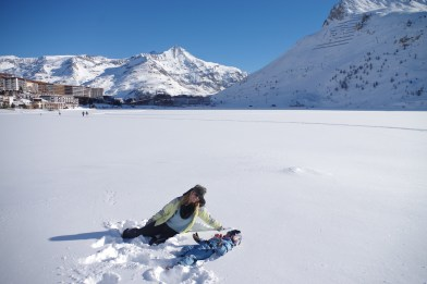 Tignes with kids on the frozen lake