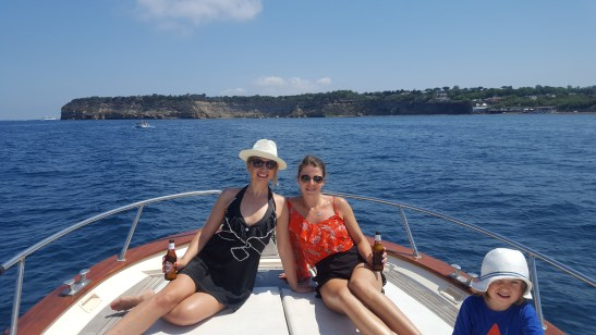 Sailing with kids - Naples to Procida ferry in the background