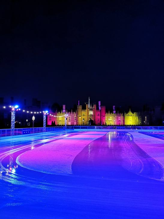 Hampton court palace ice rink - festive changing area & kids