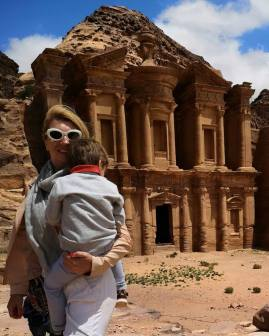 Petra Monastery backdoor hike with toddler