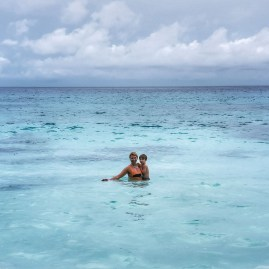 Swimming at Intendance bay Seychelles