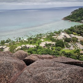 Baie Lazare Mahe - views from Kempinski's mountain/ granitic formation