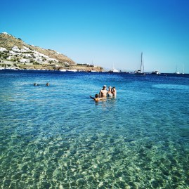 Ornos beach Mykonos with kids
