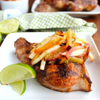 Grilled Pork Chops with Stone Fruit Slaw
