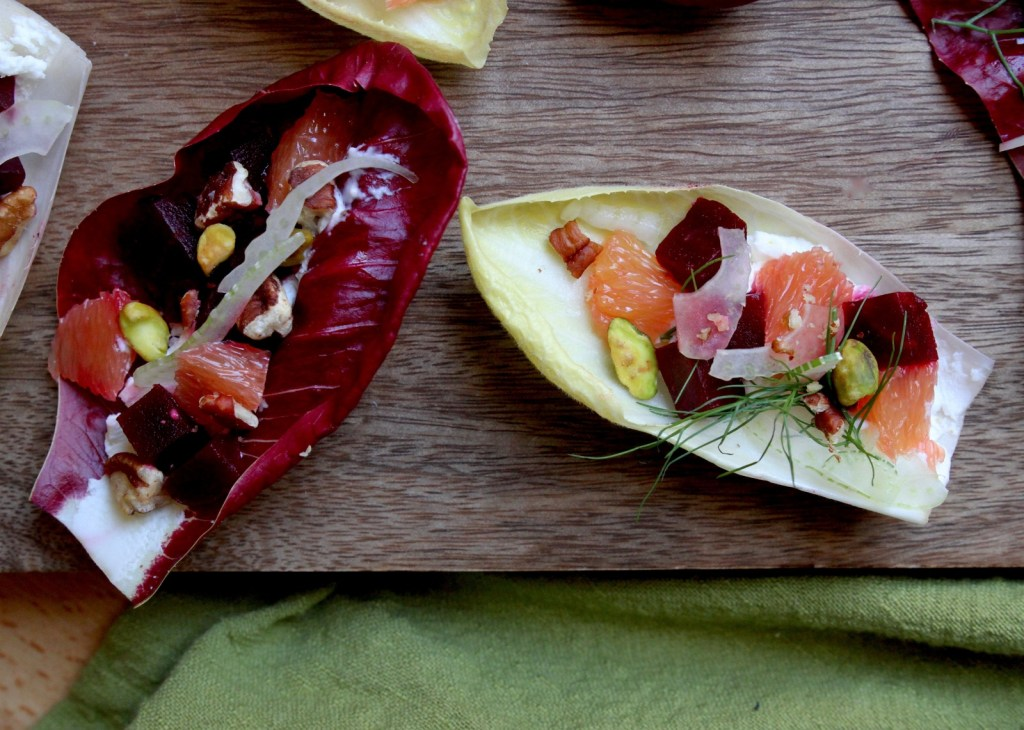beet and orange endive boats