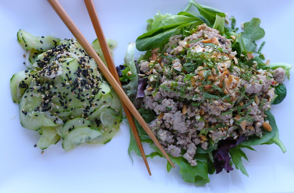 pork larb with cucumber salad