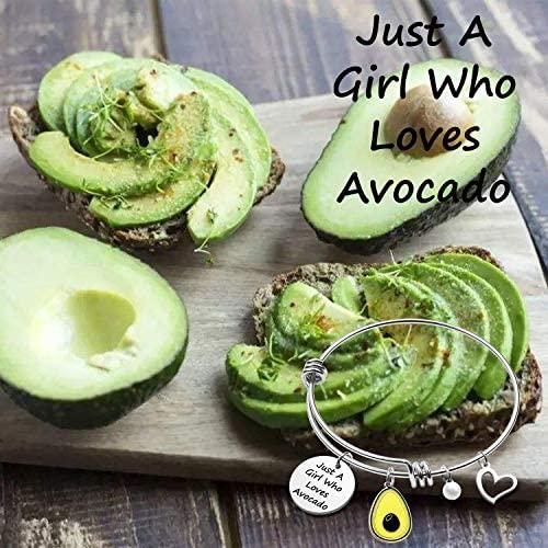 CWSEN Funny Avocado Gift for Women Girls Just A Girl Who Loves Avocado Bracelet Green Fruit Avocado Gift Avocado Lover Jewelry Gift for Vegetarian