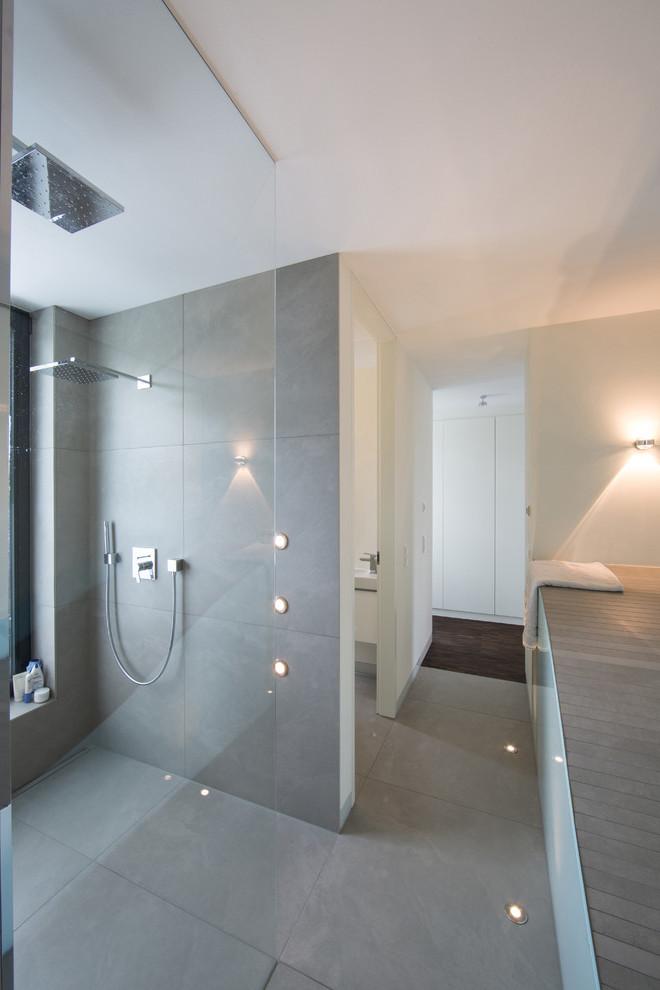 Badezimmer Grau Beton