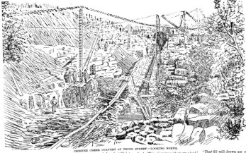 Illustration of the construction of the Chester Creek culvert, 1887.