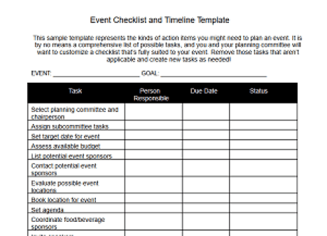 event checklist and timeline template