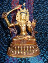 Manjushri ~4-inches, copper and gilded with traditional painted touches