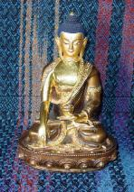 Shakyamuni ~7.5-inches, copper and gilded with traditional painted touches