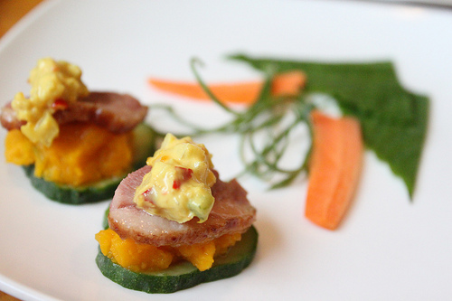 Hanjeongsik canape topped with mayo potato salad