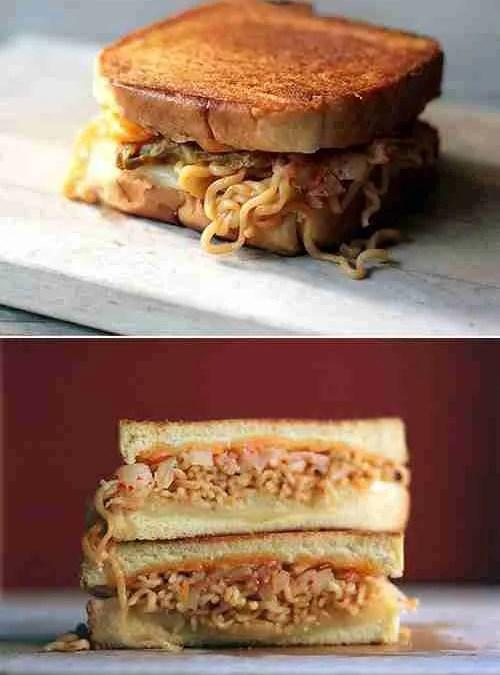WTF: Ramen Kimchi Grilled Cheese Sandwich