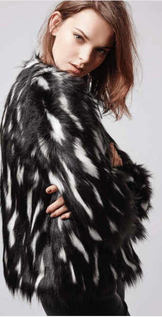 Topshop Boxy Faux Fur Patchwork Coat: SALE £30