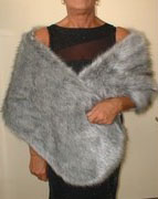 The Throw Company- Silver Musquash Faux Fur Stole: £89.95