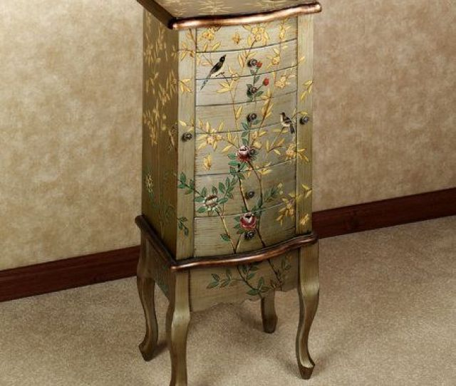 Hand Painted Jewelry Armoire With Gold Finish