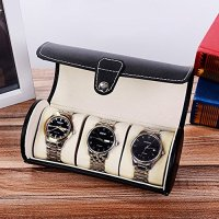 Black Leather Men's Watch Travel Box / Jewelry Organizer ...