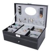 Black 6 Slot Jewelry Box, Watch Organizer & Storage Case ...