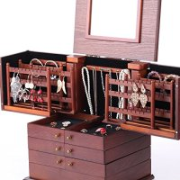 Large Wooden Jewelry Box Armoire Cabinet Earring Organizer ...