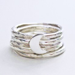 Crescent moon Sterling silver stacking rings