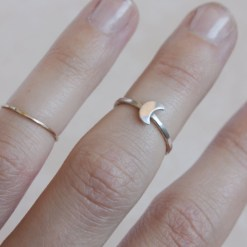 Crescent moon Sterling silver midi ring