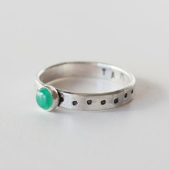 Heart chakra stacking ring in sterling silver with emerald stone