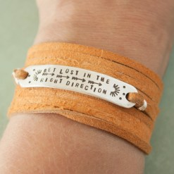 Get lost in the right direction Sterling silver leather bracelet
