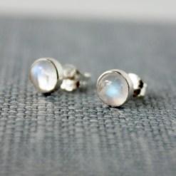 Rainbow moonstone sterling silver stud earrings