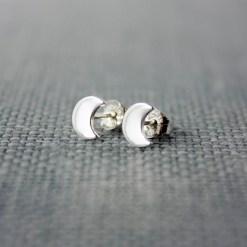 Crescent moon sterling silver stud earrings