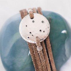 Libra constellation leather wrap bracelet