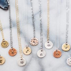 Zodiac charm necklace in your choice of metal