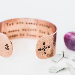 Cross the ocean Inspirational copper bracelet