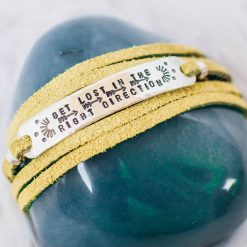 Get Lost in the Right Direction sterling silver leather wrap bracelet