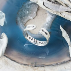 Be here now sterling silver skinny stacking ring