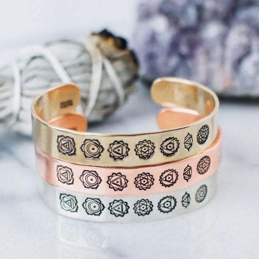 Chakra cuffs in copper, brass or sterling silver