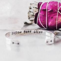 Follow your bliss silver inspirational bracelet
