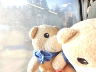 XK and XD goofing around on the train ride.