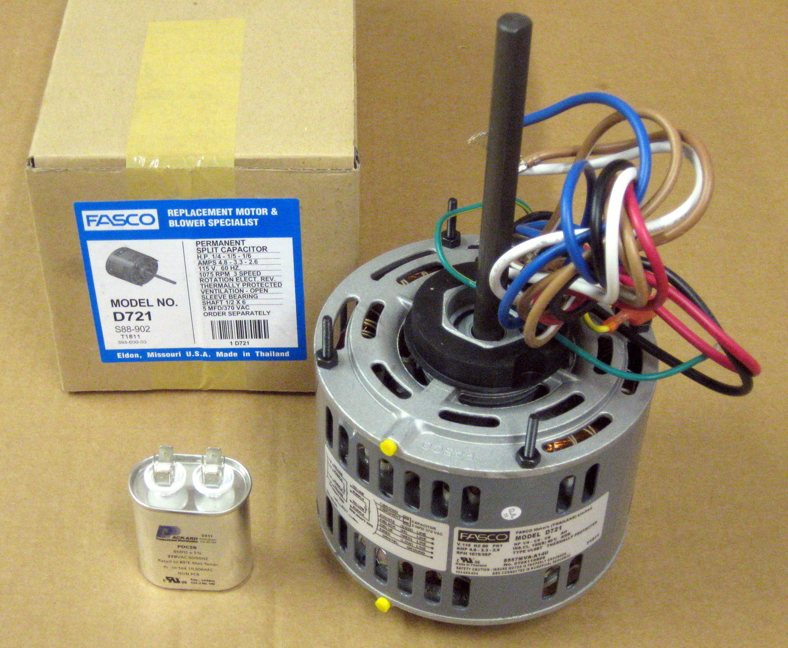 hight resolution of d721 5 fasco 1 4 hp 1075 115 v 3 speed furnace blower fan motor w capacitor