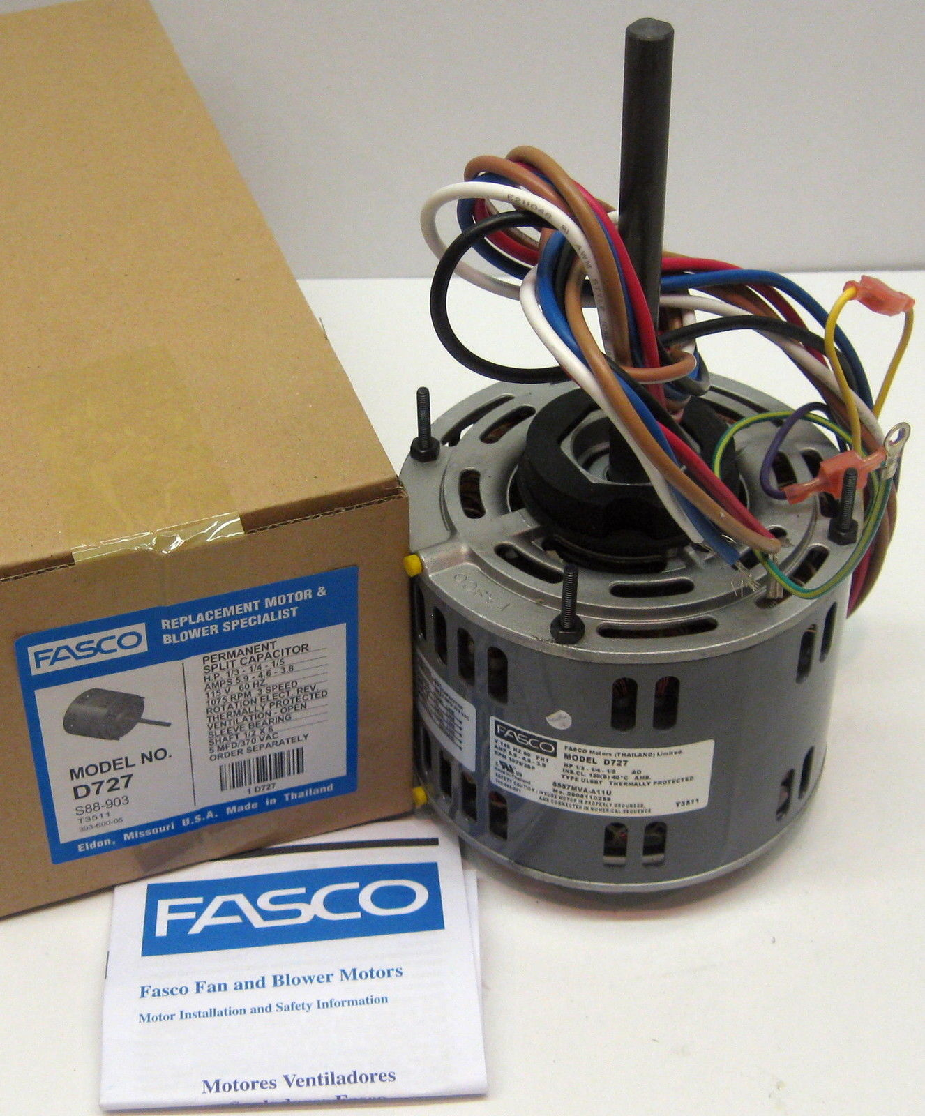 fasco d827 motor wiring diagram trailer for ford f 150 d727 1 3 hp 1075 rpm 115 v speed furnace blower