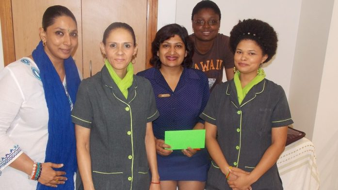 From Left to Right: Avanti Naidu, Scholastica Cloete, Kogi Reddy (Winner of the Lucky Draw), Joyce Manda and Chezne Pavitt