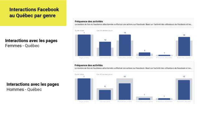 Interactions utilisateurs Facebook au Québec par genre