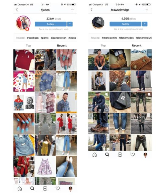 Comparaison des hashtags jeans et rawselvedge