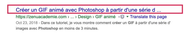 Résultat de recherche organique Google où le titre est trop long