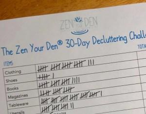 Zen Your Den 30-Day Decluttering Challenge tally sheet