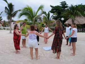 Cooperative Games training on the beach in Mexico