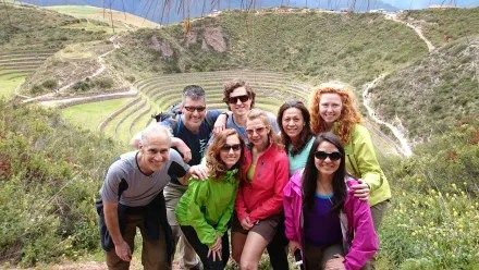 Inca Trail - the group at Moray
