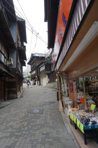 The buildings in Arima-onsen gives off a rustic charm