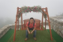 There is a swing in front of Rokko-Shidare Observatory